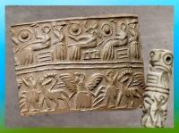 D'après une scène cultuelle et divinités, sceau-cylindre, vers 2600-2340 avjc, époque des dynasties archaïques, calcaire, Mésopotamie. (Marsailly/Blogostelle)