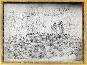 D'après l'Enfer, les Traîtres au fond du puits gelé, Sandro Botticelli, 1480-1495, Divine Comédie, XVe siècle, Renaissance. (Marsailly/Blogostelle)