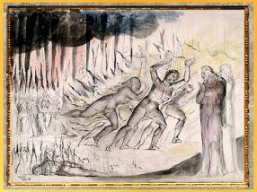 D'après Dante, Virgile, et les blasphémateurs, l'Enfer, de William Blake, 1824-1827, Divine Comédie, XIXe siècle. (Marsailly/Blogostelle)