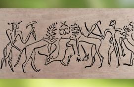 D'après une scène mythique, sceau-cylindre, style dit de Fara, vers 2700-2600 avjc, dynasties archaïques sumériennes, Shuruppak (actuel Fara), Irak. (Marsailly/Blogostelle)