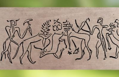 D'après une scène mythique,empreinte de sceau-cylindre, style dit de Fara, vers 2700-2600 avjc, dynasties archaïques sumériennes, Shuruppak (actuel Fara), Irak actuel, Mésompotamie. (Marsailly/Blogostelle)