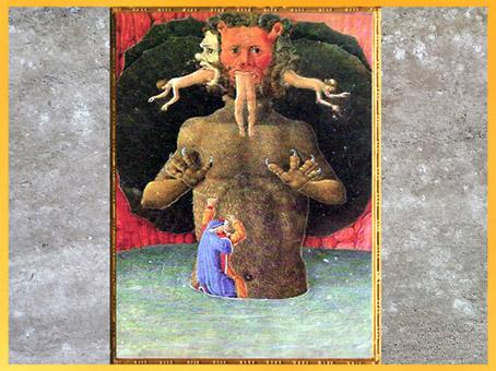 D'après Dante et Virgile le long de Lucifer, La Divine Comédie, 1480, Codice Urbinate Latino, XVe siècle, Renaissance. (Marsailly/Blogostelle)