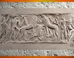 D'après une scène mythique, sceau-cylindre, style dit de de Fara, vers 2700-2600 avjc, époque des dynasties archaïques sumériennes, Mésopotamie. (Marsailly/Blogostelle)