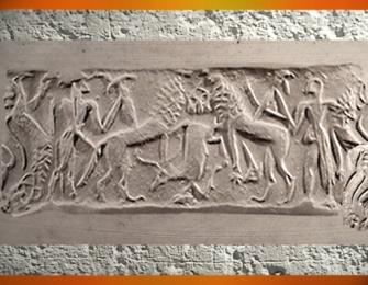 D'après une scène mythique, empreinte de sceau-cylindre, style dit de Fara, vers 2700-2600 avjc, époque des dynasties archaïques sumériennes, Mésopotamie. (Marsailly/Blogostelle)