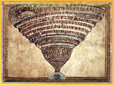 D'après le cône inversé de l'Enfer, La Divine Comédie, de Sandro Botticelli, 1480-1495, fin XVe siècle, Renaissance. (Marsailly/Blogostelle)