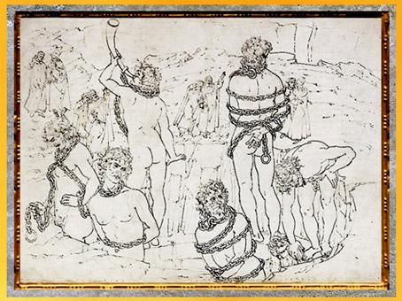 D'après les géants enchaînés, l'Enfer, Sandro Botticelli, 1480-1495, Divine Comédie, XVe siècle, Renaissance. (Marsailly/Blogostelle)