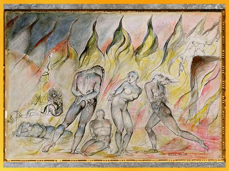 D'après Les voleurs et les serpents, Inferno, William Blake, Divine Comédie de Dante, 1824-1827, plume et aquarelle, XIXe siècle. (Marsailly/Blogostelle)