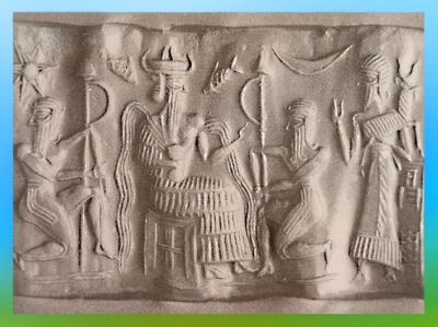 D'après une image du dieu sumérien Enki, protecteur de l'Humanité, avec des filets d'eau qui jaillissent de ses épaules, IIIe millénaire avjc, Mésopotamie. (Marsailly/Blogostelle)