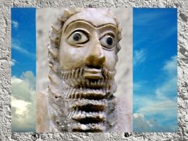 D'après un orant du temple d'Abu à Eshnunna, vers 2550-2600 avjc, époque des dynasties archaïques, Tell Asmar, Irak actuel, Mésopotamie. (Marsailly/Blogostelle)