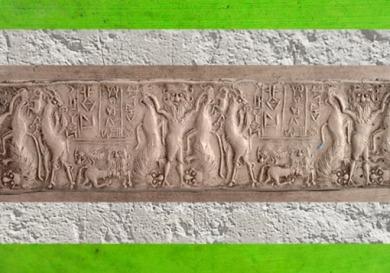 D'après le Maître des Animaux, sceau de Ishma-ilum, prince de Kisik, vers 2600-2300 avjc dynasties archaïques sumériennes, Mésopotamie. (Marsailly/Blogostelle)