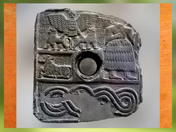 D'après le relief votif de Dudu, prêtre de Ningirsu, époque du roiEnmetena (ou Entemena) de Lagash, vers 2400 avjc, dynasties archaïques sumériennes, Mésopotamie.(Marsailly/Blogostelle)