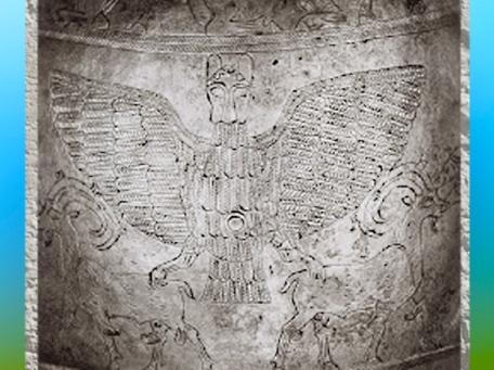 D'après le vase voué à Ningirsu par Entemena roi de Lagash, argent et cuivre, avec Imdugud, l'aigle du dieu Ningirsu,détail, vers 2400 avjc, dynasties archaïques sumériennes, Girsu-Tello, Irak actuel, Mésopotamie. (Marsailly/Blogostelle)