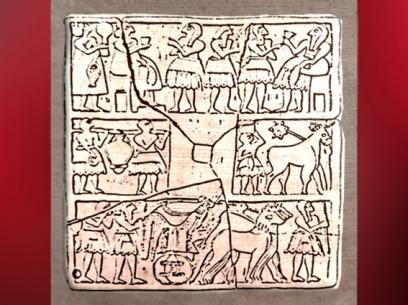 D'après le relief perforé dit du Nouvel An, banquet, porteurset char, vers 2700 avjc, Khafadjé -Ur, Irak actuel, Mésopotamie. (Marsailly/Blogostelle)