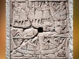 D'après un bas-relief perforé, scènes de banquet, vers 2700 - 2650 avjc, dynasties archaïques sumériennes, Mésopotamie. (Marsailly/Blogostelle)
