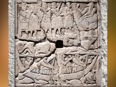 D'après des scènes de banquet, bas-relief perforé, vers 2700 - 2650 avjc,époque des dynasties archaïques sumériennes, Mésopotamie. (Marsailly/Blogostelle)