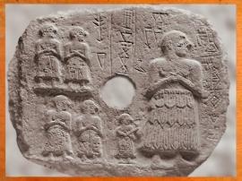 D'après un bas-relief votif d'Ur-Nanshe roi de Lagash, vers 2550-2500 avjc, dynasties archaïques sumériennes, Mésopotamie. (Marsailly/Blogostelle)