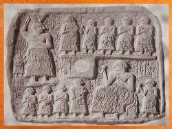 D'après le relief votif du roi Ur-Nanshe de Lagash, Banquet, vers 2550-2500 avjc, dynasties archaïques sumériennes, Mésopotamie. (Marsailly/Blogostelle)