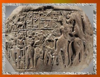 D'après la bulle de Lugalanda, prince de Lagash, empreinte du sceau, combats mythologiques, vers 2400 avjc, Girsu-Tello, Irak actuel, dynasties archaïques sumériennes, Mésopotamie. (Marsailly/Blogostelle)