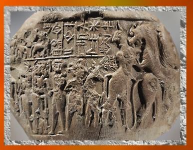 D'après la bulle de Lugalanda, prince de Lagash, empreinte du sceau, combats mythologiques, vers 2400 avjc, Tello, ancienne Girsu, Irak actuel, Mésopotamie. (Marsailly/Blogostelle)