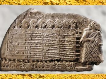 D'après la stèle de victoire du roi Eannatum de Lagash, dite Stèle des Vautours, vers 2450 avjc, dynasties archaïques sumériennes, Girsu-Tello, Irak actuel, Mésopotamie. (Marsailly/Blogostelle)