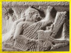 D'après la stèle d'Eannatum, roi de Lagash, détail, vers 2450 avjc, vers 2450 avjc, dynasties archaïques sumériennes, antique Girsu, Tello, Irak actuel, Mésopotamie. (Marsailly/Blogostelle)