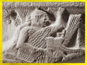 D'après la stèle d'Eannatum, roi de Lagash, détail, vers 2450 avjc, vers 2450 avjc, dynasties archaïques sumériennes, antique Girsu-Tello, Irak actuel, Mésopotamie. (Marsailly/Blogostelle)
