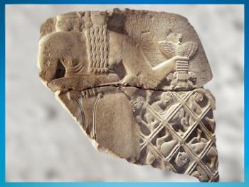 D'après le dieu Ningirsu, stèle du roi Eannatum, vers 2450 avjc, dynasties archaïques sumériennes, antique Girsu-Tello, Irak actuel, Mésopotamie. (Marsailly/Blogostelle)