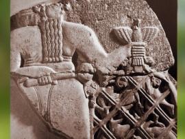 D'après Ningirsu, stèle d'Eannatum, roi de Lagash, vers 2450 avjc,dynasties archaïques sumériennes, antique Girsu, Tello, Irak actuel, Mésopotamie. (Marsailly/Blogostelle)