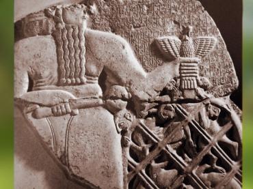 D'après Ningirsu, stèle d'Eannatum, roi de Lagash, dite Stèle des Vautours, vers 2450 avjc, dynasties archaïques sumériennes, antique Girsu-Tello, Irak actuel, Mésopotamie. (Marsailly/Blogostelle)
