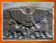 D'aprèsImdugud,l'Aigle du dieu Ningirsu relief votif de Dudu, prêtre de Ningirsu, Lagash, vers 2400 avjc, dynasties archaïques sumériennes, Mésopotamie. (Marsailly/Blogostelle)