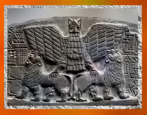 D'après Im-dugud, détail du relief votif de Dudu, prêtre de Ningirsu, Lagash, vers 2400 avjc, dynasties archaïques, Mésopotamie. (Marsailly/Blogostelle)