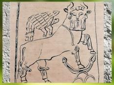 D'après le dessin d'un relief mythologique, Aigle à tête de lion et Taureau barbu, vers 2450 avjc, dynasties archaïques sumériennes,temple d'Obeid, Irak actuel. (Marsailly/Blogostelle)