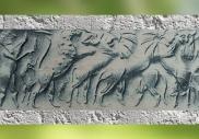 D'après des figures mythologiques et Taureau barbu, sceau-cylindre, vers 2500 ans avjc, dynasties archaïques sumériennes,tombe royale d'Ur, Irak actuel, Mésopotamie. (Marsailly/Blogostelle)