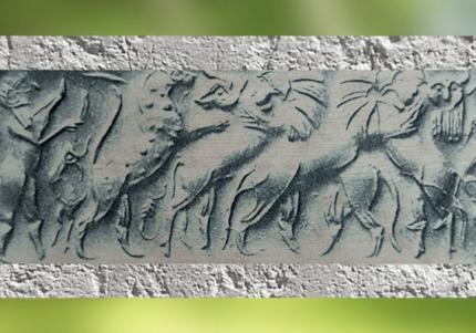 D'après un sceau-cylindre, figures mythologiques et Taureau barbu, vers 2500 ans avjc, dynasties archaïques sumériennes,tombe royale d'Ur, Irak actuel, Mésopotamie. (Marsailly/Blogostelle)