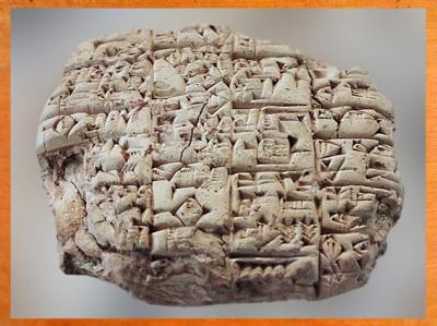 D'après un écrit sumérien, le prêtre Lu'enna annonce au roi de Lagash la mort de son fils au combat, vers 2400 avjc, Girsu-Tello, actuel Irak, époque des dynasties archaïques sumériennes, Mésopotamie. (Marsailly/Blogostelle)