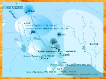 D'après une carte de la Mésopotamie, époque des dynasties archaïques sumérienne,Lagash, Umma, Ur, Mari. (Marsailly/Blogostelle)