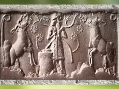 D'après une image de Roi sumérien, glyptique, vers 3200-3000 avjc, Uruk, période de Jemdet-Nasr. (Marsailly/Blogostelle)
