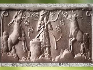 D'après une image de Roi sumérien, nourricier du troupeau sacré, glyptique, vers 3200-3000 avjc, Uruk, période de Jemdet-Nasr, Mésopotamie. (Marsailly/Blogostelle)