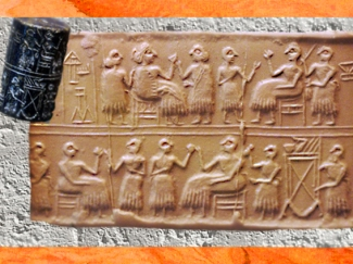 D'après une scène de banquet, empreinte de sceau-cylindre de la reine Pû-abi, tombes royales d'Ur, Irak actuel, vers 2500 - 2600 avjc, époque des dynasties archaïques sumériennes, Mésopotamie. (Marsailly/Blogostelle)