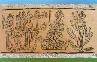 D'après le dieu des flots Enki-Ea au cœur de la végétation, entouré de Ningursag, et Nammu et Enlil, empreinte de sceau, Mari, Syrie, III millénaire avjc, Mésopotamie. (Marsailly/Blogostelle)