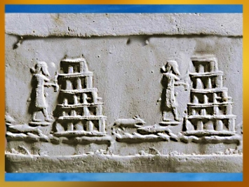 D'après la ziggurat de Babylone, supposée reconstruite par Nabuchodonosor II au VIe avjc, bas-relief, Irak actuel, Mésopotamie. (Marsailly/Blogostelle)