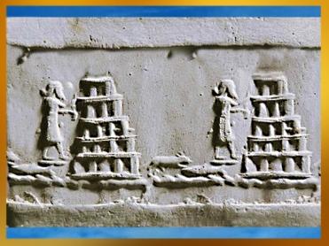 D'après la ziggurat de Babylone, supposée reconstruite par Nabuchodonosor II, au VIe avjc, bas-relief, Irak actuel, Mésopotamie. (Marsailly/Blogostelle)