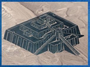 D'après un dessin de la ziggurat d'Ur, érigée à l'origine par le roi Ur-Nammu, vers 2100 avjc, époque de la IIIe dynastie d'Ur, Irak actuel, Mésopotamie. (Marsailly/Blogostelle)