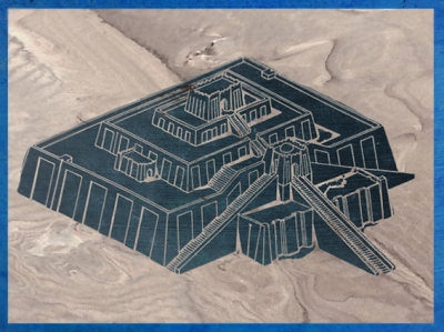 D'après un dessin de la ziggurat d'Ur, érigée à l'origine par le roi Ur-Nammu, vers 2100 avjc,époque de la IIIe dynastie d'Ur, Irak actuel, Mésopotamie. (Marsailly/Blogostelle)
