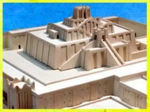 D'après la ziggurat d'Ur érigée à l'origine Ur-Nammu, maquette, vers 2100 avjc, époque de la IIIe dynastie d'Ur, Irak actuel, Mésopotamie. (Marsailly/Blogostelle)