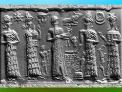 D'après une scène d'épiphanie des Dieux, empreinte de sceau, vers 1894 avjc-1595 avjc, première dynastie de Babylone, Mésopotamie. (Marsailly/Blogostelle)
