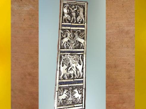 D'après le décor d'une lyre (reconstruite), bouquetins et lions chasseurs, tombes royales d'Ur, vers 2600-2500 avjc, période des dynasties archaïques sumériennes, Ur, Irak actuel, Mésopotamie. (Marsailly/Blogostelle)