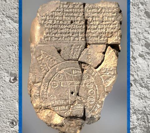 D'après une carte du Monde babylonienne, argile, VII siècle avjc, Babylone, Irak actuel, Mésopotamie. (Marsailly/Blogostelle)