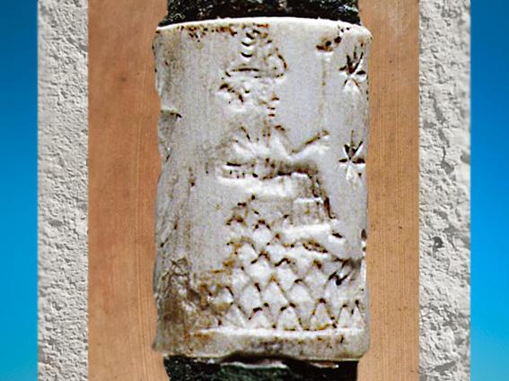 D'après une divinité et Montagne, coquille et alliage de cuivre, vers 2200-2159 avjc, sceau, Mari, Syrie. (Marsailly/Blogostelle)