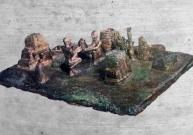 D'après une scène de culte miniature, dite cérémonie du Lever du Soleil (Sit-shamshi), objet votif en bronze, XIIe siècle avjc, Suse, actuel Iran, Orient ancien. (Marsailly/Blogostelle)